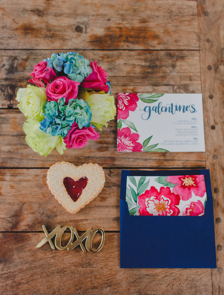 Galentine's Day brunch invitation, flower, and watercolor